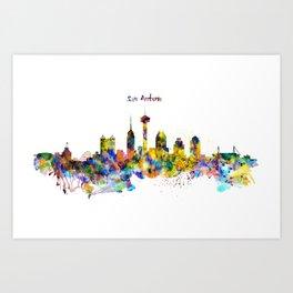 San Antonio Skyline Silhouette Art Print