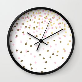 Pink and Gold Confetti Wall Clock