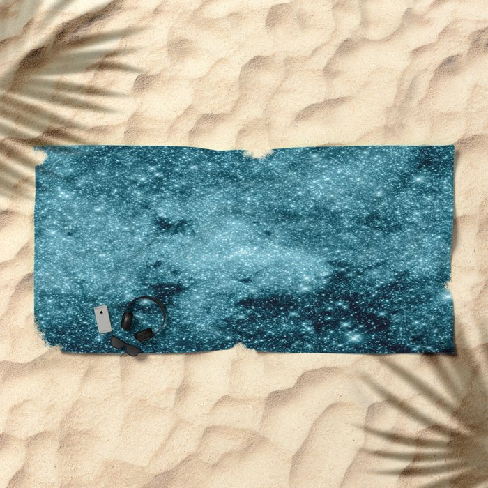 Teal Galaxy STars Beach Towel