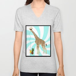 Drunk Giraffe  Unisex V-Neck