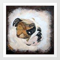 english bulldog Art Prints featuring English Bulldog by Kristiekoz