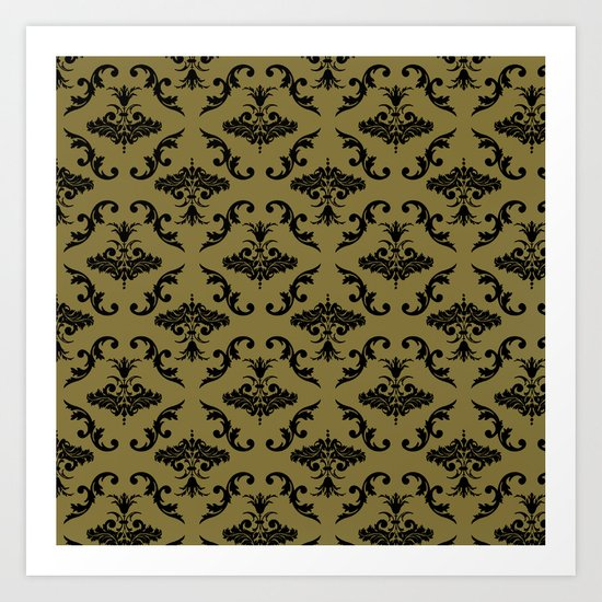 Gold Damask Art Print