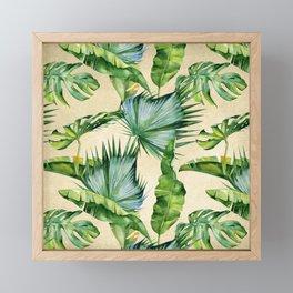 Green Tropics Leaves on Linen Framed Mini Art Print