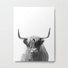 Highland cow | Black and White Photo Metal Print