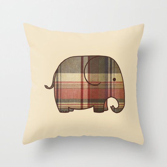 Plaid Elephant  Throw Pillow