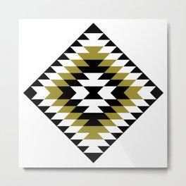 Aztec Diamond Symbol Gold Black White Metal Print