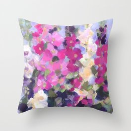 Pink Hollyhocks in My Garden Throw Pillow