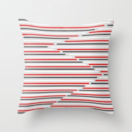Mixed Signals Abstract - Red, Gray, Black, White Throw Pillow