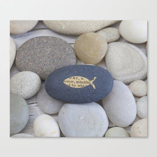Mindful fish symbol on pebble Canvas Print