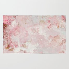 Vintage Floral Rose Roses painterly pattern in pink Rug
