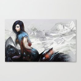 Huh... Hot girl on motorcycle Canvas Print