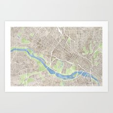 Richmond Virginia City Map Art Print
