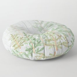 Pine forest on weathered wood Floor Pillow