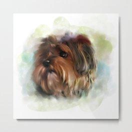Yorkshire terrier puppy digital painting Metal Print
