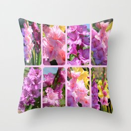 Gladiolus in Pink Collage Throw Pillow