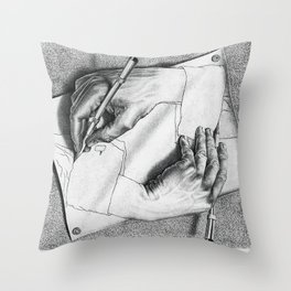 Drawing Hands Throw Pillow
