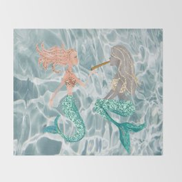 stoner mermaids Throw Blanket
