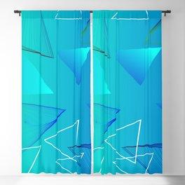 Aqua Triangle Abstract Art Design Blackout Curtain