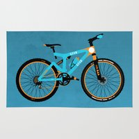 brompton Area & Throw Rugs featuring Mountain Bike by Wyatt Design