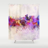 manchester Shower Curtains featuring Manchester skyline in watercolor background by Paulrommer