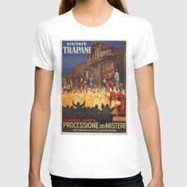 Italian travel ad Christian Easter procession Trapani T-shirt
