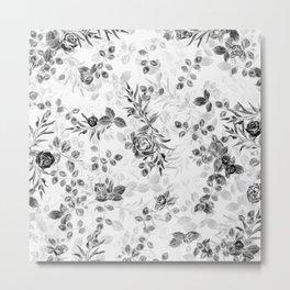 Classic Minimal Floral Watercolor Rose Pattern Metal Print