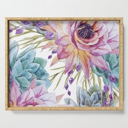 FLOWERS WATERCOLOR 19 Serving Tray