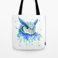 hedwig Tote Bags featuring Color Hedwig  by Simona Borstnar