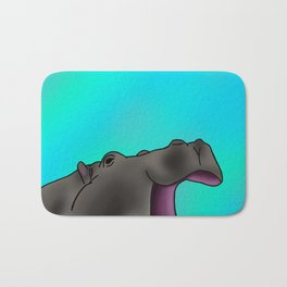 Happy Hippo with Blue Backing Bath Mat