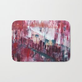 Sunset in the Valley: a colorful abstract piece in reds, pink, gold, gray, and white Bath Mat