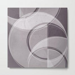 Where the Circles and Semi-Circles Meet in Aubergine Tones Metal Print