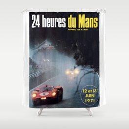 Le Mans poster, 1971, Le Mans t shirt, vintage car poster Shower Curtain