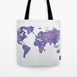 Purple World Map 02 Tote Bag
