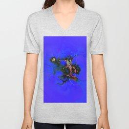 Abstrct Blue Space Unisex V-Neck