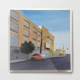 Tree and Orange Van on Flushing, print of original oil painting Metal Print