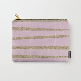 Soft Pink and Gold faux Glitter Stripes Carry-All Pouch