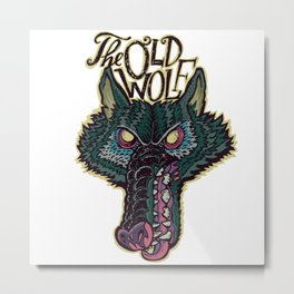 Head Old Wolf Metal Print