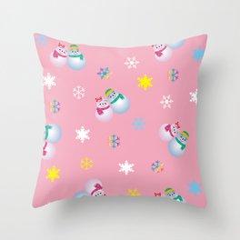 Snowflakes & Pair Snowman_B Throw Pillow