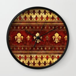Fleur-de-lis Red Marble and Gold Wall Clock