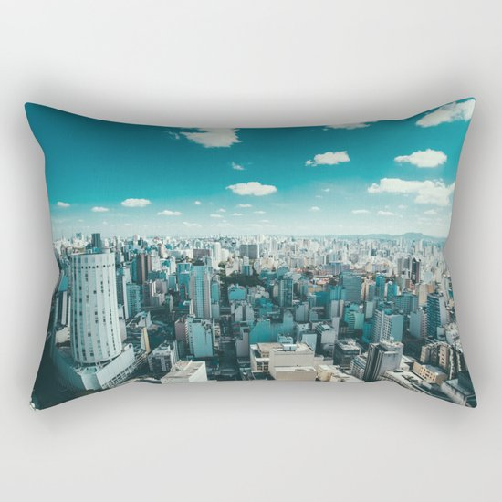 city blue 4 Rectangular Pillow