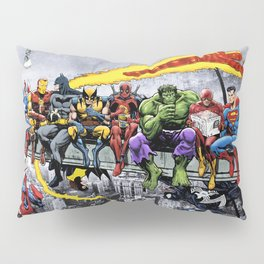 MORE Superheroes Lunch Atop A Skyscraper Pillow Sham