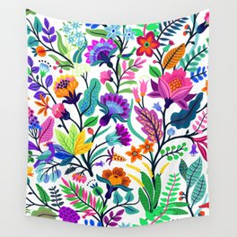 floral pattern with bright colorful flowers and tropic leaves on a white background. Modern floral background. Trendy Folk style. Wall Tapestry
