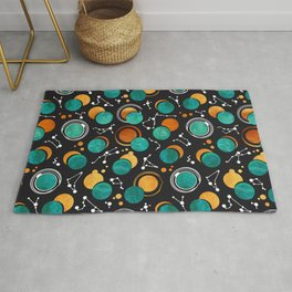 Great Total Solar Eclipse II // turquoise green moons Rug