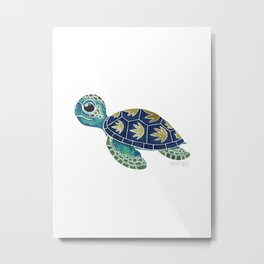 Cute Blue Sea Turtle Metal Print