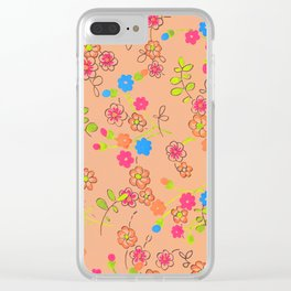 Fashion Textail Floral Print Design, Flower Allover Pattern Clear iPhone Case