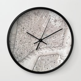Vintage New York City Gold Foil Location Coordinates with map Wall Clock