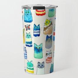 Lots of Watercolor Kitty Cats Travel Mug