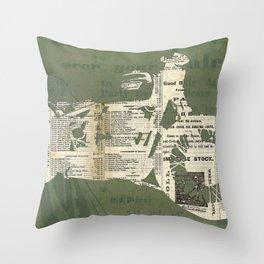 Motorcycle on newspaper, news collage art, decoration man cave, bike cut art Throw Pillow