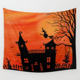 Haunted House Witch Play Wall Tapestry