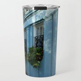 Blue House With Window Box Travel Mug